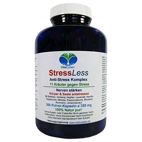 StressLess, Anti-Stress-Komplex, 11 Kräuter gegen Stress, 360 Pulver-Kapseln a 350mg, #25813 (Müdigkeit Symptome Geistige)
