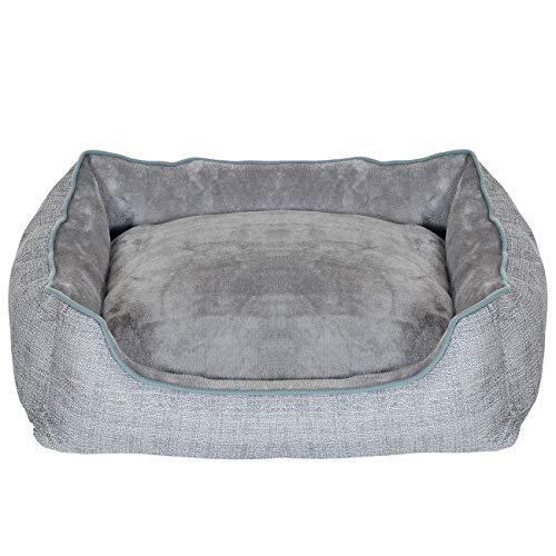 Pet Violet Hundebett Extra Weich mit XL Wendekissen | Rand Hoch und Stabil | Bissfest, Wasserabweisend und Waschbar; 75x57x19 cm Grau