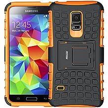Galaxy S5 mini Funda, Funda S5 mini, Fetrim Proteccion Cáscara Cases delgada de golpes Doble Capa de Tough Armor Anti-Shock de soporte de Protectora para Samsung Galaxy S5 mini (naranja)