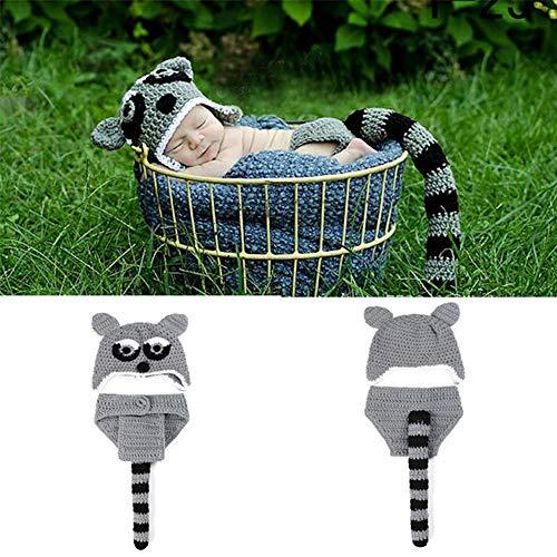 NROCF Kleiner Waschbär niedlich Set Neugeborenen Fotografie Kostüm, häkeln, mit Langen Schwanz, Cartoon handgemachte Baby Fotografie - Niedliche Waschbär Kostüm