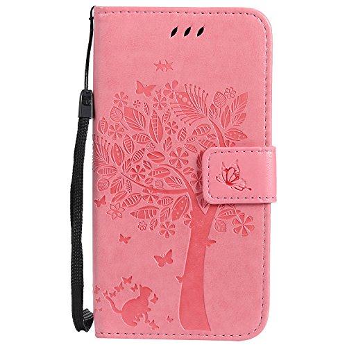 Chreey Motorola Moto G5 Hülle, Prägung [Katze Baum] Muster PU Leder Hülle Flip Case Wallet Cover mit Kartenschlitz Handyhülle Etui Schutztasche [Rosa]
