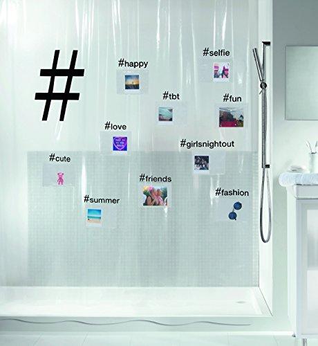 Spirella Anti-Schimmel Duschvorhang Hashtag zum selber befüllen, Anti-Bakteriell, waschbar, wasserdicht Vinyl 180x200cm