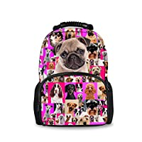 Coloranimal Fashion Dog Animal School Backpack for Women Travel Daypacks