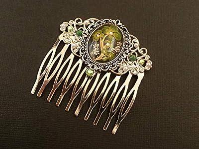 Peigne à cheveux avec trèfle à quatre feuilles en argent vert
