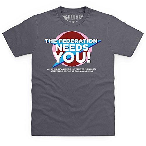 Official Blake's 7 T-Shirt - Federation, Herren Anthrazit