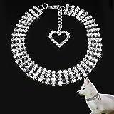 bureze S/M/L Bling Strass Halsbänder Puppy Halskette mit Herz Charm Cute für kleine Hunde
