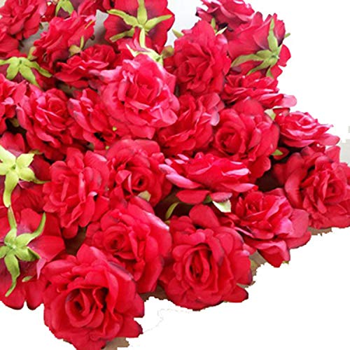 Lot de 10 têtes de Fleurs artificielles 10 cm pour décoration de Mariage de Nouvel an DIY Couronne de Noël Cadeau Floral Fleur de fête Red 9