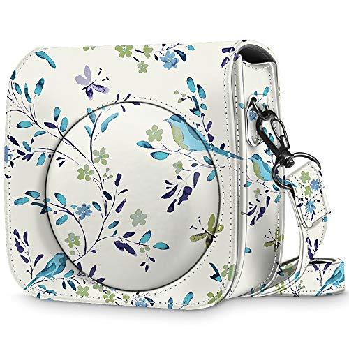 Fintie Tasche für Fujifilm Instax Mini 8 / Mini 9 Sofortbildkamera - Premium Kunstleder Schutzhülle Reise Kameratasche Hülle Abdeckung mit abnehmbaren Riemen, Das Blaue Rothkehlchen