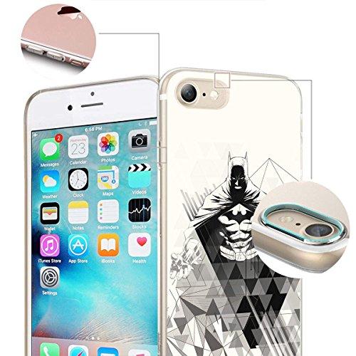 finoo | iPhone 8 Plus Weiche flexible Silikon-Handy-Hülle | Transparente TPU Cover Schale mit Motiv | Tasche Case Etui mit Ultra Slim Rundum-schutz |Batman Comic Close Up Batman Angry