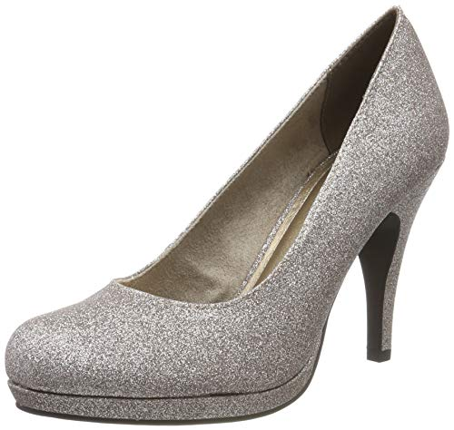 Tamaris Damen 1-1-22407-23 Plateaupumps, Silber (SPACE GLAM 960), 37 EU