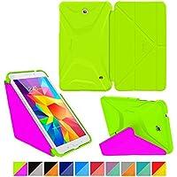 rooCASE Samsung GALAXY Tab 47.0Funda–Origami 3d slim shell 7pulgadas 7protectora con paisaje, retrato, función atril Electric Green / Peach Pink Galaxy Tab 4 7.0 (2014)