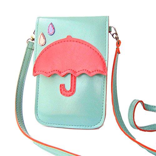 JMSIA Schultertaschen Handytasche Geldbeutel süß Design Super bequem wenig stopft zum Tragen (Rosa) Grün Regenschirm