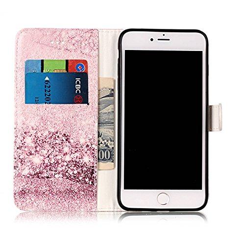 Wallet Case für iPhone 7 Plus, Sunroyal Marmor Design Brieftasche Hülle PU Lederhülle mit TPU Silicone Shell Bookstyle Standfunktion Kreditkartenfach Magnetverschluss Card Slot Etui für iPhone 7 Plus, Pattern 10