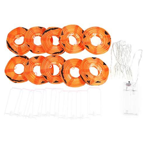 laternen, 10 LED-Kürbis-Lichterketten Halloween-Dekoration für Allerheiligen, Karneval, Patio, Hinterhof, Zaun, Kinderzimmer ()