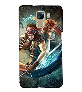 Huawei Honor 7 :: Huawei Honor 7 (Enhanced Edition) :: Huawei Honor 7 Dual SIM man, factastic man, man sword, man with sword, cartoon, girl Designer Printed High Quality Smooth hard plastic Protective Mobile Case Back Pouch Cover by Paresha