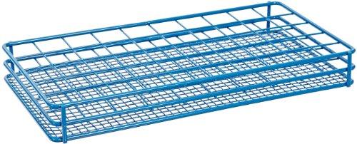 Heathrow Scientific HD120086 Gefäßständer für 25 mm Bijouröhrchen, Epoxy beschichteter Stahl, 5 x 10 Stellplätze, Blau