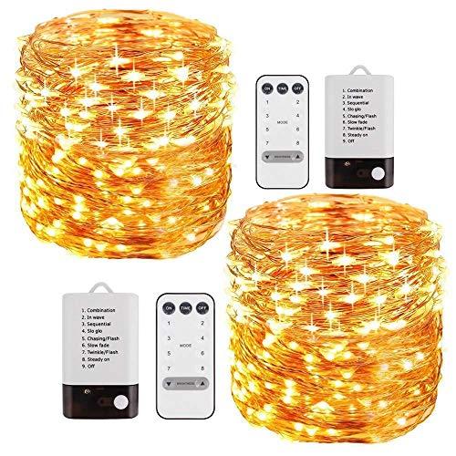 tring Lights 50 LED-Kupferseigen-Licht wasserdichte Sternenstring-Leuchten Indoor-Outdoor Solar Decoration Lights for Gardens Patios Homes Parties (Warm White) ()