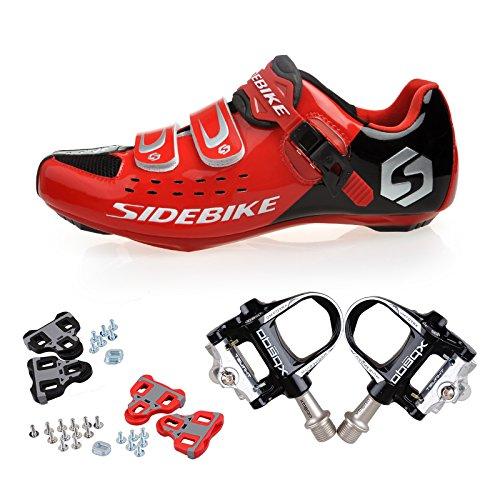TXJ Rennradschuhe Fahrradschuhe Radsportschuhe mit Klickpedale EU Größe 46 Ft 29cm (SD-001 Rot/Schwarz)(pedale schwarz)