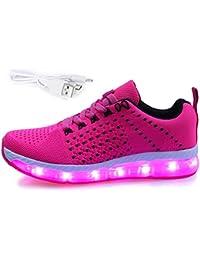 Mr.Ang Unisex 7 Colors USB Carga LED Luz Luminosas Flash Zapatos Zapatillas de Deporte para Hombres Mujeres