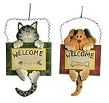 """Dekoschild """"Welcome"""" aus Holz, 2er Set mit einem niedlichen Hunde- sowie Katzenmotiv, einfaches Anbringen durch einen dünnen Draht, ein süßer Willkommensgruß für die Haustür"""