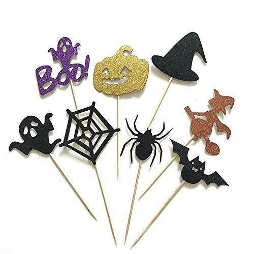 DIY Halloween-Kuchen-Deckel Dekorative Kuchen-Picks Geist/Schläger/Hexe/Spinnen- / Kürbis-Muster-Kuchen-Deckel für Halloween Themed Party, 16Pcs (Halloween Pappteller Spinnen)