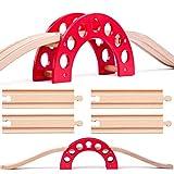 Set: Holz - Brücke + 7 Schienen - für Holzeisenbahn - passend für alle Schienen-Systeme & Straßen - z.B. Brio / Heros / Eichhorn / IKEA / Woody u.v.m. - Holzb..