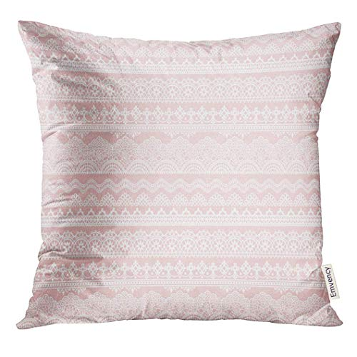 KJDFH Kissenbezug,Throw Pillow Cover Crochet Pink of Lace Trims Border Decorative Pillow Case Home Decor Square 18x18 Inches Pillowcase -