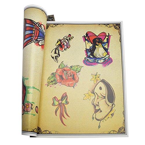 Fenteer 86 Seiten Handwerk Tattoo Aufkleber Vorlagen Body Art Malerei Zeichnungschablonen Aufkleber Bücher