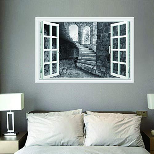 Murales - Vista De La Ventana - Decoración De Pared Murales Moderna Diseno - Escalera De Caracol - Decoración De Pared,100x70cm