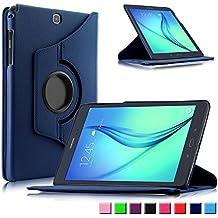 Infiland Samsung Galaxy tab A 9.7 Funda Case-PU Cuero 360°Rotación Smart Cover Cascara con Soporte para Samsung Galaxy Tab A 9.7 T550N/ T555N 24,6 cm WiFi/LTE Tablet-PC (9,7 pulgadas) (con Auto Reposo / Activación Función)(Azul Oscuro)