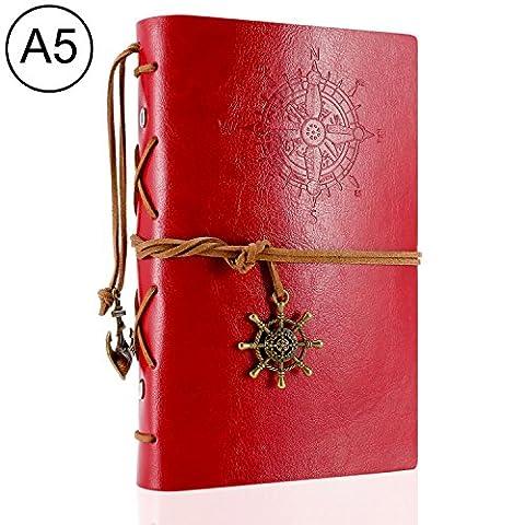 Foonii Vintage Retro Leather Cover Notebook Klassische Travel Journal Tagebuch Leeren Kraft Notebook Korsar(Rote)