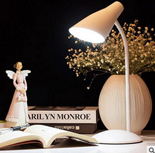 Kitlit LED dimmbare Schreibtischlampe Bettleuchte 360° Flexibel Schwanenhals Leselampe Buchlampe für Schlafzimmer Büro Weiß [Energieklasse A+] (Auto-tippen Sie Auf Die Lichter)