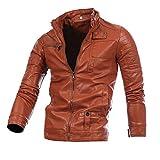 Celucke Lederjacke Herren Winter Warmer Slim Fit,Männer Bikerjacke Winterjacke Mode Cool Jacke eine Klassische Passform