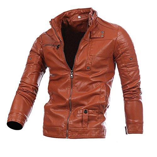 BBring Herren PU Lederjacke, Mode Cool Stehkragen Bikerjacke Motorradjack Reißverschluss Outwear Mantel, Brown, M (Brown-streifen-hemd)