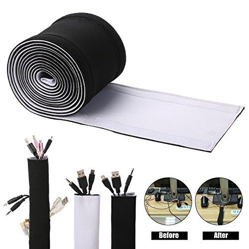Cables organizador, ENVEL DIY Funda Organizadores de Cable [ con Velcro ] Cubierta para Cables de Neopreno en Material Elastico [ 3M ] gestión mangas para PC Ordenador Home Theater Altavoz