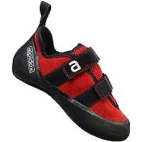 Scarpetta d'arrampicata rosso fuoco con chiusura a strappo, adulti:41 - Arrampicata Scarpe