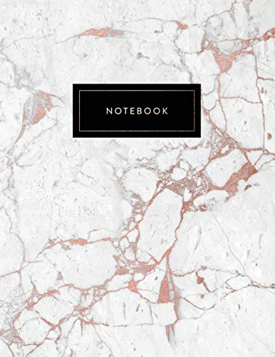 Notebook: Beautiful White and Rose Gold Marble with Elegant Title Block | 150 College-ruled (7mm) Lined Pages | 8.5 x 11 - (A4 Size) (Marble and Gold, Band 1) (White Collectibles Rose)