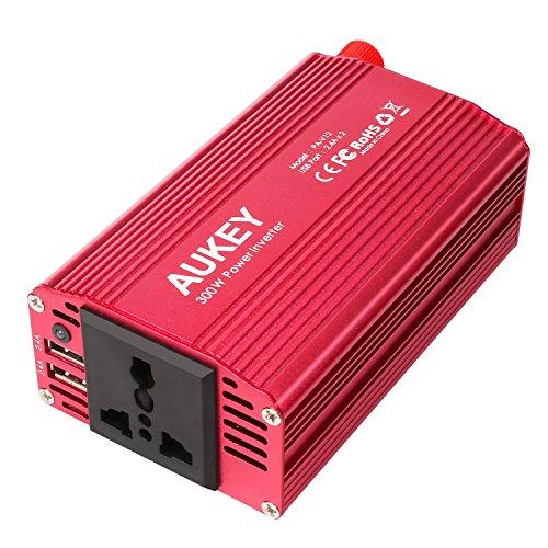 AUKEY Power Inverter für Auto 300W, 12V bis 230V, mit 1 AC Outlet & Doppel 2.4A USB Anschlüsse für Laptop, Tablet, Smartphone und andere Haushaltsgeräte und elektronische Geräte