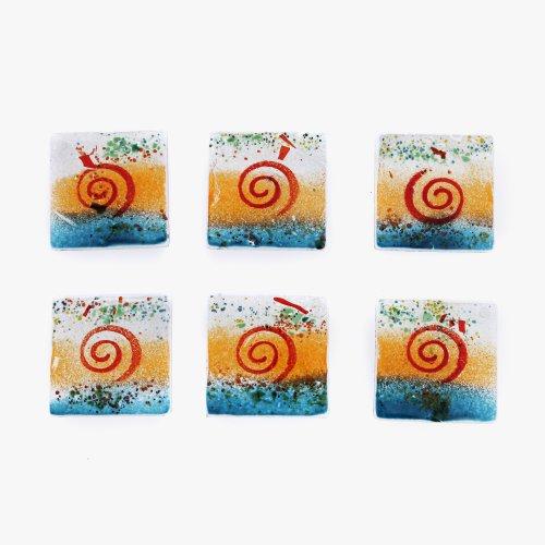boisson-de-service-dessous-de-verre-lot-de-6-verre-fusionne-fabrique-a-la-main-carre-bleu-orange-ver