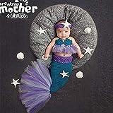 TASLAR Baby Girls Handmade Crochet Knitted Woolen Mermaid Headband Tail Set Newborn Photography