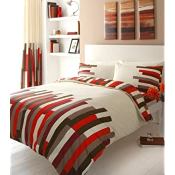 Red Printed King Size Duvet Cover Bed Set Amazon Co Uk Kitchen