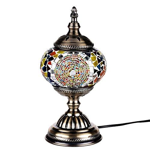Orientalische Marokkanische Lampe Mosaik Glaslampe Vintage für Schlafzimmer Nachttischlampe Bronze Basis (Multicolor) - Mosaik-tisch-lampe