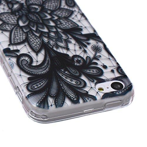 Coque Housse pour iPhone 5c, iPhone 5c Coque Silicone Etui Housse, iPhone 5c Souple Coque Etui en Silicone, iPhone 5 Silicone Transparent Case TPU Cover, Ukayfe Etui de Protection Cas en caoutchouc en Black Rose