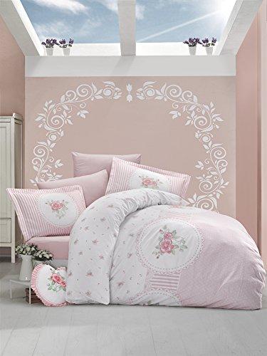 Ti Home anrosen Pink Floral Bettbezug-Set, 100% Baumwolle Ranforce Stoff Single Größe 3-teilig Bettwäsche Set