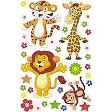 Pack Figuras Vinilo blanco Animales selva | Facil colocacion | Decoracion Habitación | Motivos infantiles | Naturaleza | Urbes | Multicolor | Diseño Elegante |