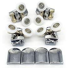 Set de rodamientos de mampara corredera de ducha doble, con guías y ruedas de 25