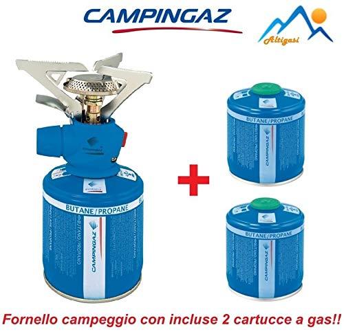 ALTIGASI Hohe Gaskocher Twister Plus PZ - Marke CAMPINGAZ + 2 Kartuschen A Gas CV 300 mit herausnehmbarem System - Produkt ideal für Camping