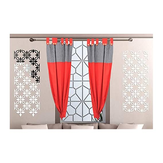 Alemah Room Darkening Tab Top Button Type Loop Cotton Window Curtain, Thermal Insulator Screen for Summer, Designed Gingham Check & Solid Contemporary Pattern 153 cm (5 ft) (Pack of 2) (Red & Black)