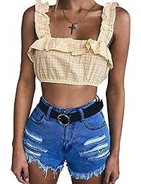 Verano Camisolas Mujer Moda Delgado Enrejado Volantes Tank Tops T-Shirt  Blusa Sexy Tirantes Backless aeaccfc34fb9