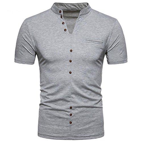 T-Shirt à Manches Courtes, Malloom Chemisier à col en V Décontracté à col en V pour Hommes